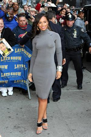 Alicia Keys leaving the Late Show with David Letterman Ed Sullivan Theatre in New York