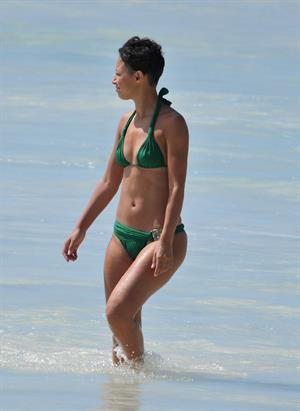 Amelle Berrabah bikini candids in Barbados on Jan 2nd 2010