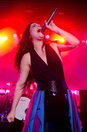 Amy Lee performing at the Rave Eagles Club in Milwaukee on October 21, 2011