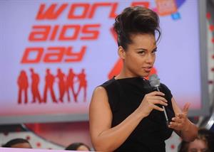 Alicia Keys attends the World AIDS Day at BET Studios in New York on December 1, 2010