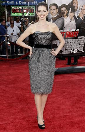 Anne Hathaway attends the premiere of Get Smart in Los Angeles