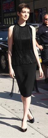 Anne Hathaway at Late Show with David Letterman in New York on July 11, 2012