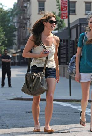 Ashley Greene in shorts goes out with a friend in New York City