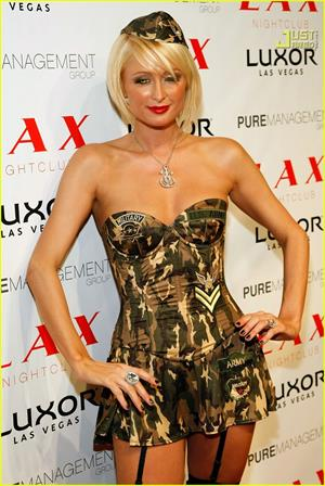 Paris Hilton in Army Halloween costume
