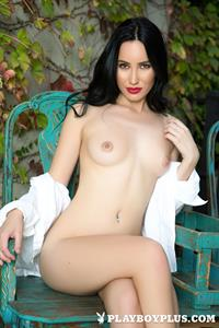 Playboy Cybergirl - Lauren O'Conner Nude outside on a bench