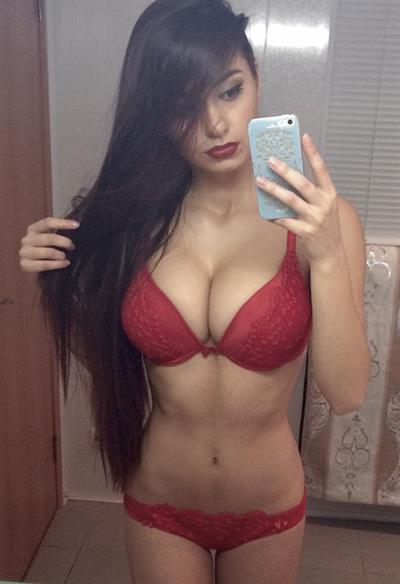 Helga Lovekaty in lingerie taking a selfie