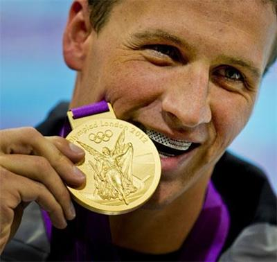 American Olympic Swimmer Ryan Lochte and his 2012 London Gold Medal