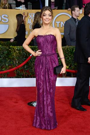 Sarah Hyland at the Screen Actors Guild Awards wearing a purple dress