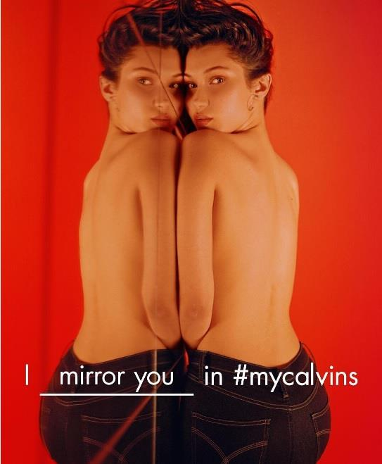 Bella Hadid Mirror Shot for CK