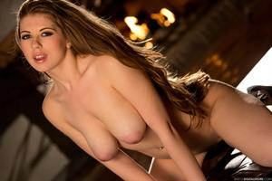 Jessi June strips off her striped bikini in low light