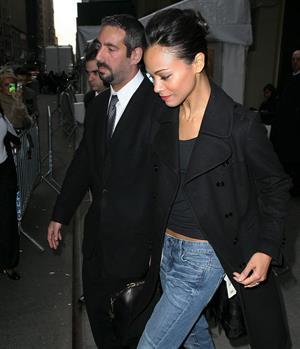 Zoe Saldana leaving the Calvin Klein fashion show - February 17, 2011
