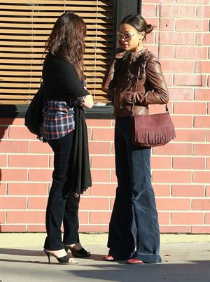Zoe Saldana after lunch at Good Earth in Studio City December 22, 2011