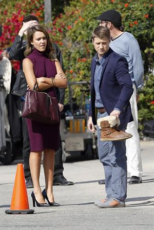 "Jessica Alba ""How to Make Love Like an Englishman"" set candids in Los Angeles, November 4, 2013"