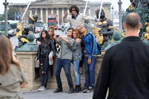 Ashley Greene and Miley Cyrus in Paris France on September 6, 2010