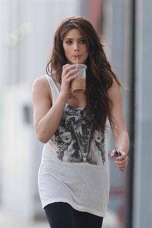 Ashley Greene takes a walk with an iced coffee in Sta Monica on March 20, 2010