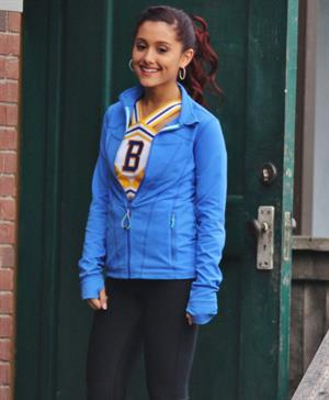 Ariana Grande In Tights On Set of 'Swindle' in Vancouver (10/11/12)