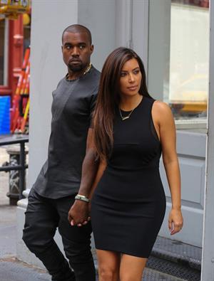 Kim Kardashian and Kanye West walk around SoHo in New York City
