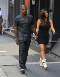 Kim Kardashian and Kanye West walk around SoHo in New York City