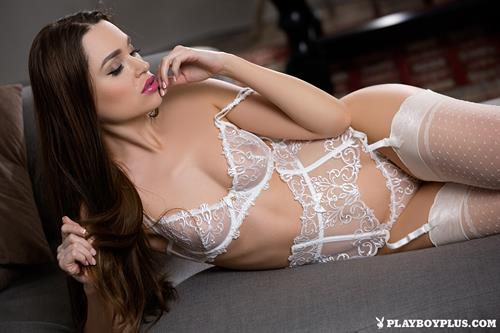 Playboy Cybergirl Jasmine Symone takes over her white lingerie for Playboy Plus