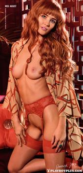 Playboy Cybergirl Dominique Jane: Red head in red lingerie