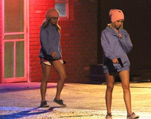 Ashley Benson and Vanessa Hudgens film Spring Breakers Florida on March 15, 2012