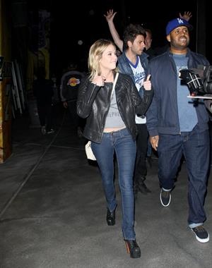 Ashley Benson arriving at the Staples Centre in Los Angeles on February 17, 2012