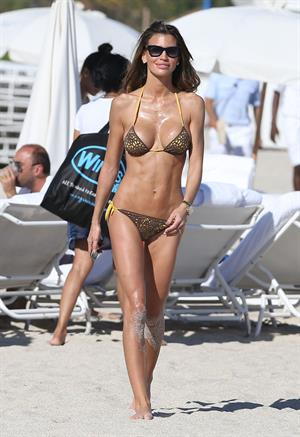 Claudia Galanti bikini candids in Miami Beach 12/7/12