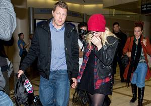Demi Lovato cute in a red touque & specs @ LA/28/12