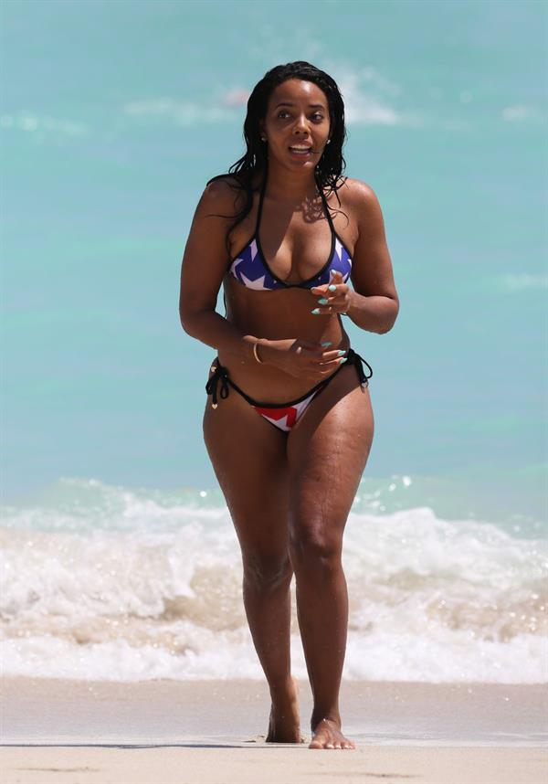 Angela Simmons in Miami in an American Flag Bikini