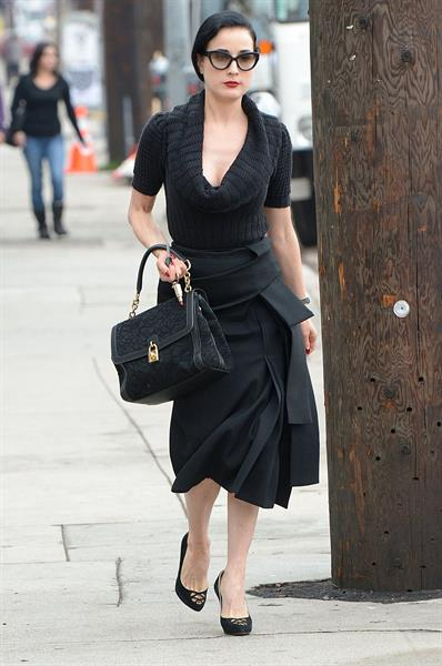 Dita von Teese Leaving Real Food Daily in West Hollywood (November 15, 2012)