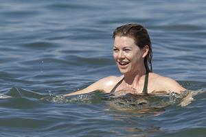 Ellen Pompeo - Wearing a sexy wet bikini on a beach in Maui (June 6, 2012)