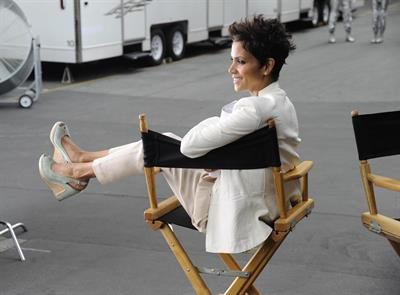 Halle Berry shooting a commercial for 5th Avenue Collection in LA on February 21, 2013