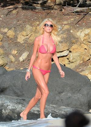 Victoria Silvstedt At the beach on the Caribbean Island of St.Barts (Pink bikini) 04.01.13