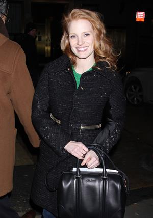 Jessica Chastain leaving the Walter Kerr Theatre in New York - February 7, 2013