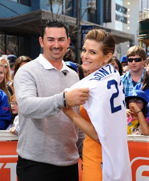 Maria Menounos On the set of Extra in Los Angeles on April 4, 2013