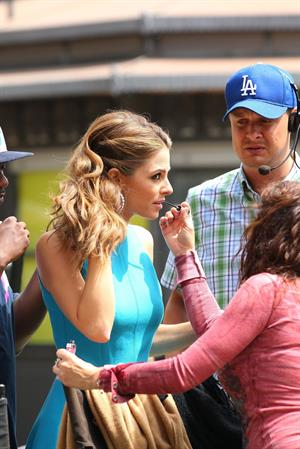 Maria Menounos on the set of Extra in LA on April 30, 2013