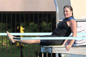 Nicole Eggert prepares for 'Splash' (sports bra/wetsuit) 6.2.2013