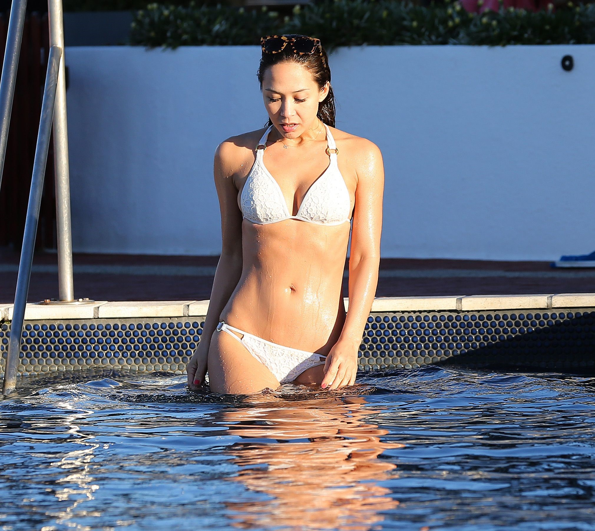 Myleene Klass in a white bikini in Cape Town