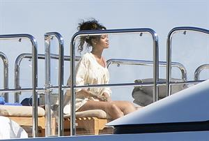 Rihanna enjoying a break on a yacht in Ponza August 29, 2014