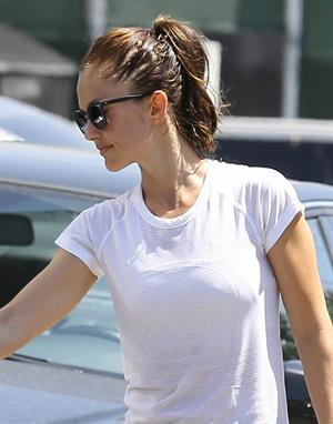 Minka Kelly leaving the gym in West Hollywood wearing a white shirt and black pants