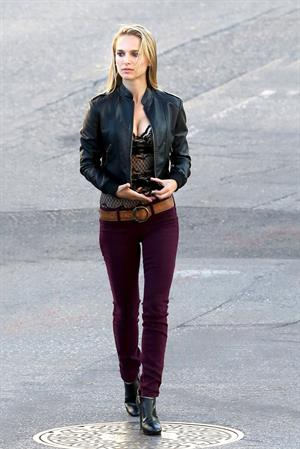 Natalie Portman on the set of a Terrence Malick film in Austin 10/20/12