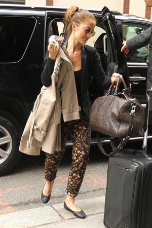 Minka Kelly outside her hotel New York City 3/5/2012