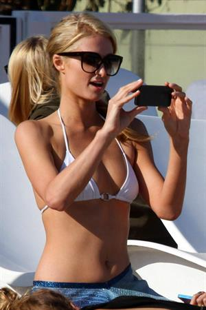 Paris Hilton a party on the beach in Malibu July 27, 2013