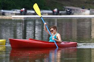 Aimee Teegarden kayaking in Ann Arbor on July 29, 2011