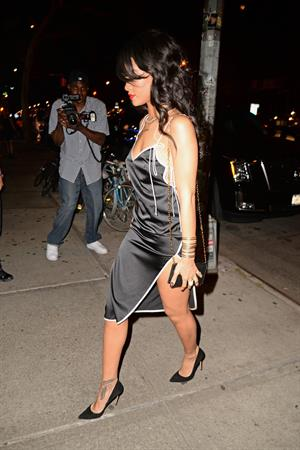 Rihanna leaves for a birthday party at the Bowery Hotel in NYC August 14, 2014