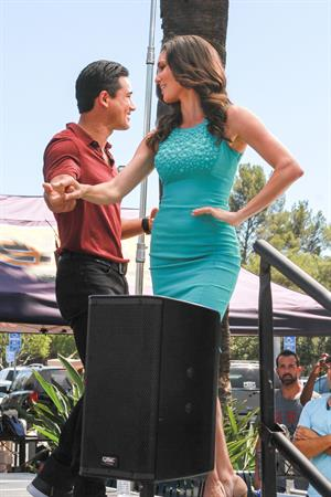 Daniela Ruah on the set of Extra - August 15, 2014