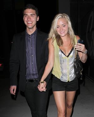 Amanda Michalka leaves a club with a friend in Los Angeles on August 7, 2010