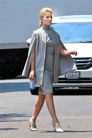 Dianna Agron wearing grey on the set of  Headlock  on July 29, 2014