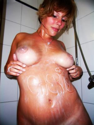 Tanned Amateur Girlfriend with tan lines in Shower