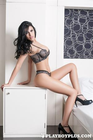 Playboy Cybergirl - Laura Cattay Nude Photos & Videos at Playboy Plus! (black lingerie, white bed)